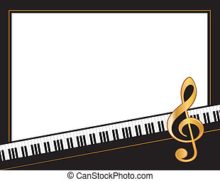 Music Poster - Grand piano keys, golden treble clef, white...
