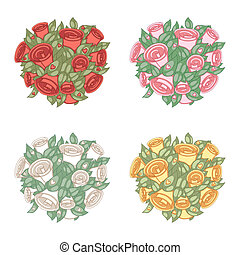 Bouquet in color variations - Bouquet of roses in four color...