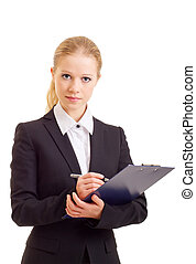 a beautiful young business woman with folder
