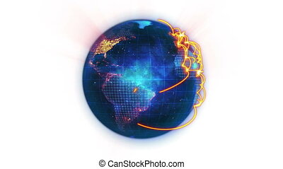 Animated blue Earth with orange connections against a white...