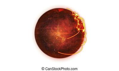 Animated orange Earth globe spinnin