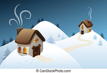 Winter country scene - Snowy winter scene in the...