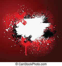 Red paint splatter - Red and white grunge paint splatter...