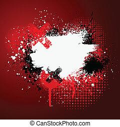 Red paint splatter - Red and white grunge paint splatter...