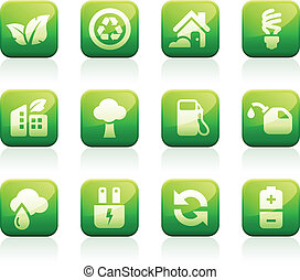 Glossy green icons