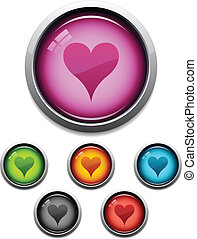 Heart button icon - Glossy heart button icon set in 6 colors
