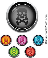 Skull button icon - Glossy skull button icon set in 6 colors