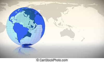 Blue Earth spinning on itself against a map in the...