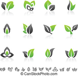 Green leaf design elements - Set of 12 abstract green leaf...