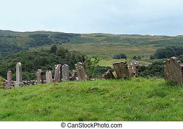 histórico, cemitério, Escocês