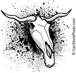 Longhorn paint splatter - Longhorn bull graphic on grunge...