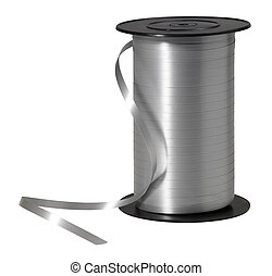 silver ribbon - studio photography of a silver strap coil...
