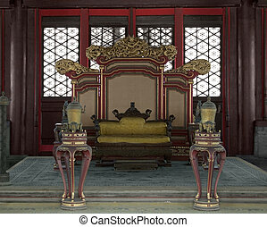 throne in the Hall of Preserving Harmony inside the...