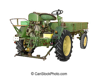 small old tractor - old green tractor isolated on white with...