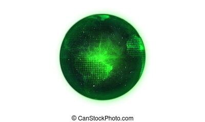Animated green planet globe in movement against a white...