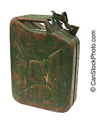 Old rusty gasoline jerry can with lid open