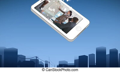 Smartphone showing business presentations against an urban...
