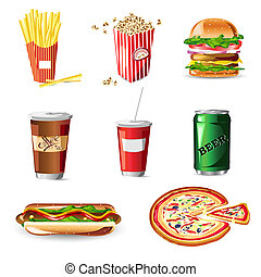 Fast Food - illustration of fast food on white background
