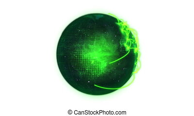 Animated green planet globe spinning on itself against a...