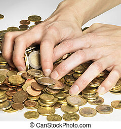 reap profit - hand while gathering euro coins
