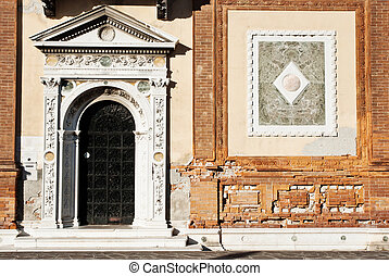 Detail of building in Venice - Beautiful facade of a...