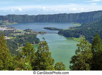 """Lagoa das Sete Citades - lake named """"lagoa das sete cidades""""..."""