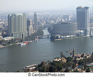 Cairo aerial view - misty aerial view of Cairo and river...