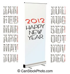 calendar for new year 2012 with rollup art vector