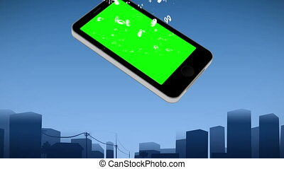 Smartphone showing chroma keys against an urban background