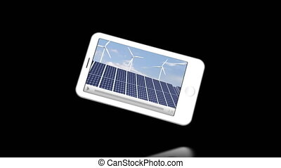 Smartphone showing windmills against a black background