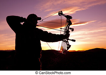 Bowhunter, entiers, dessiner, Levers de Soleil