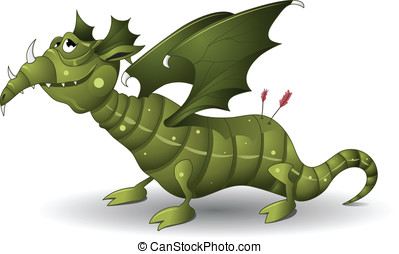 Green dragon - Green cartoon dragon vector illustration...