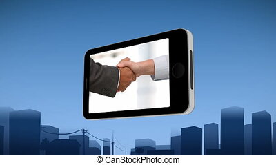 Smartphone showing a handshake against an urban background
