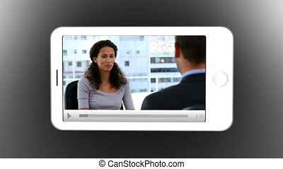 Smartphone showing business meeting