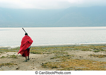 Masai in front of Empakai lake - Image of a Masai in front...