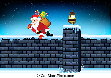 Santa Claus - illustration of santa claus jumping from wall...