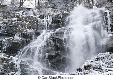 Todtnau Waterfall at winter time - detail of a waterfall...