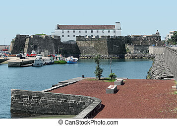 harbour at Ponta Delgada - harbour scenery at Ponta Delgada,...