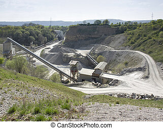 stone pit at summer time - gravel plant in Southern Germany...