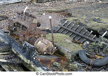 rotten boat with engine