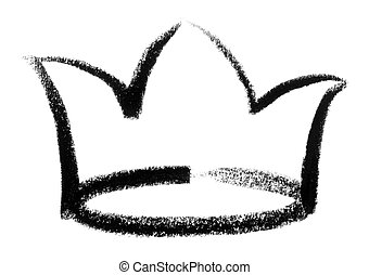 crown sketch - crayon-painted crown in white back