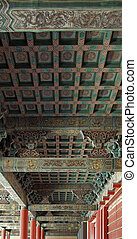 traditional chinese ceiling - architectural detail of a...
