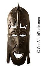 big african mask - studio photography of a wooden african...
