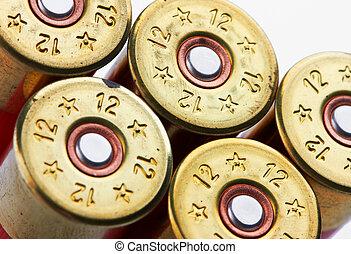 shotgun shells on white background