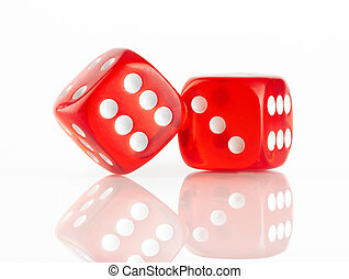 Red and white dices on a white background