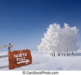 Rusty metallic sign indicating north pole in winter scenery
