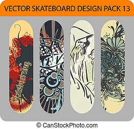 Skateboard designpack 13 - Vector pack of 4 skateboard...