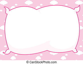 Pink Pillow Frame - Cartoon frame with pillow inset and pink...