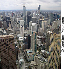 Chicago aerial view - aerial view of Chicago (USA) in cloudy...