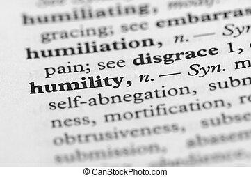 diccionario, serie, -, humildad